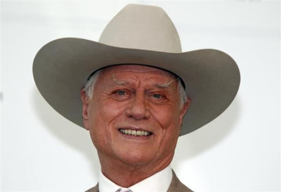 "Actor Larry Hagman who played ""J.R. Ewing"" on television series ""Dallas"" poses during a photocall at the 50th Monte Carlo television festival in Monaco June 8, 2010    REUTERS/Eric Gaillard  (MONACO)"