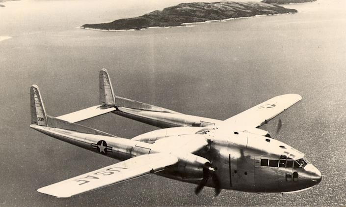"""An Air Force C-119 """"Flying Boxcar,"""" once considered the workhorse of the Air Force Reserve, was part of the Continental Air Command's first Airlift Rodeo on Oct. 5, 1956. The aircraft pictured is similar to one that disappeared over the Bermuda Triangle in 1965. (U.S. Air Force file photo)"""