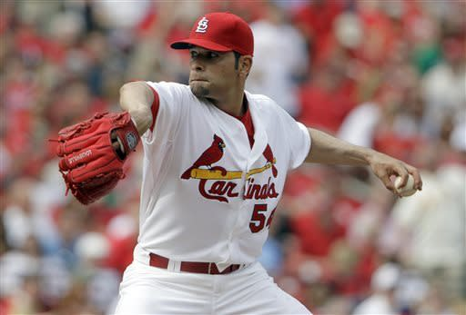 St. Louis Cardinals starting pitcher Jaime Garcia throws during the first inning of a baseball game against the Cincinnati Reds Monday, April 8, 2013, in St. Louis. (AP Photo/Jeff Roberson)
