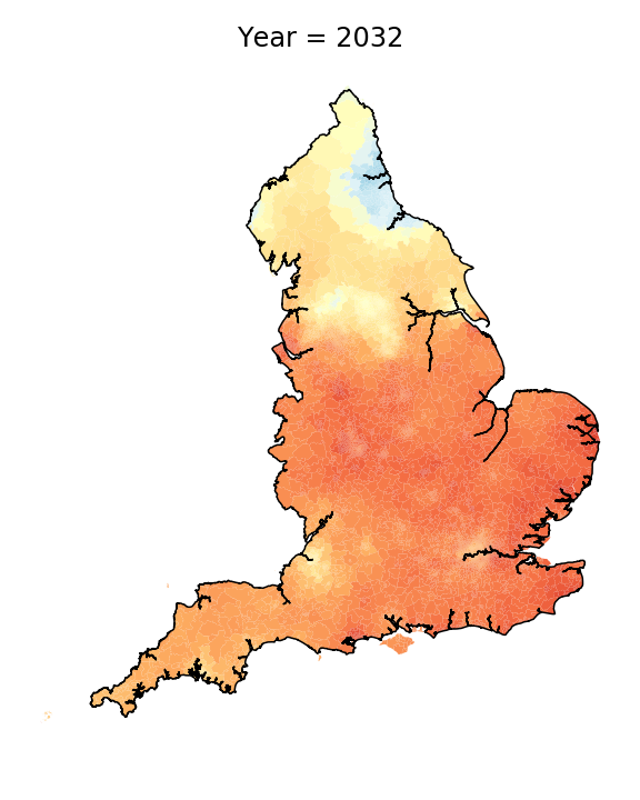 Map showing the predicted prevalence of the use of thawing with the intrusive r in 2032. (University of Portsmouth/PA)