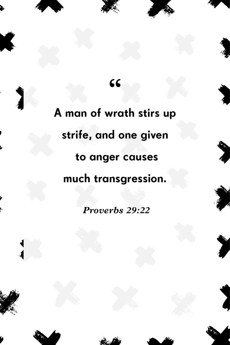 """<p>""""A man of wrath stirs up strife, and one given to anger causes much transgression.""""</p>"""