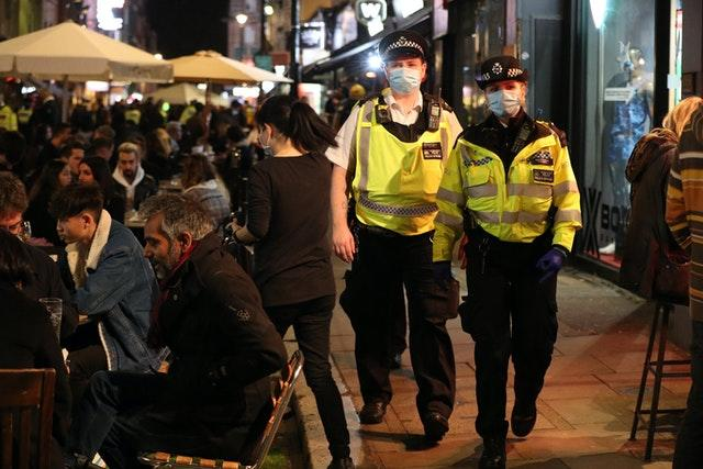 Police presence in Old Compton Street, London, on Friday night