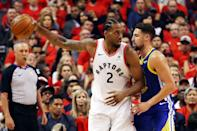 Kawhi Leonard #2 of the Toronto Raptors is defended by Klay Thompson #11 of the Golden State Warriors in the first half during Game Five of the 2019 NBA Finals at Scotiabank Arena on June 10, 2019 in Toronto, Canada. (Photo by Gregory Shamus/Getty Images)