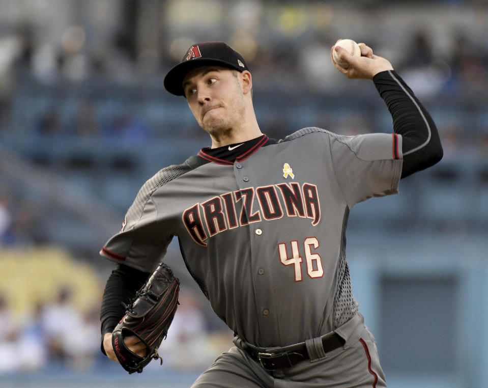 Arizona Diamondbacks pitcher Patrick Corbin throws to the plate during the first inning of a baseball game against the Los Angeles Dodgers, Saturday, Sept. 1, 2018, in Los Angeles. (AP Photo/Michael Owen Baker)