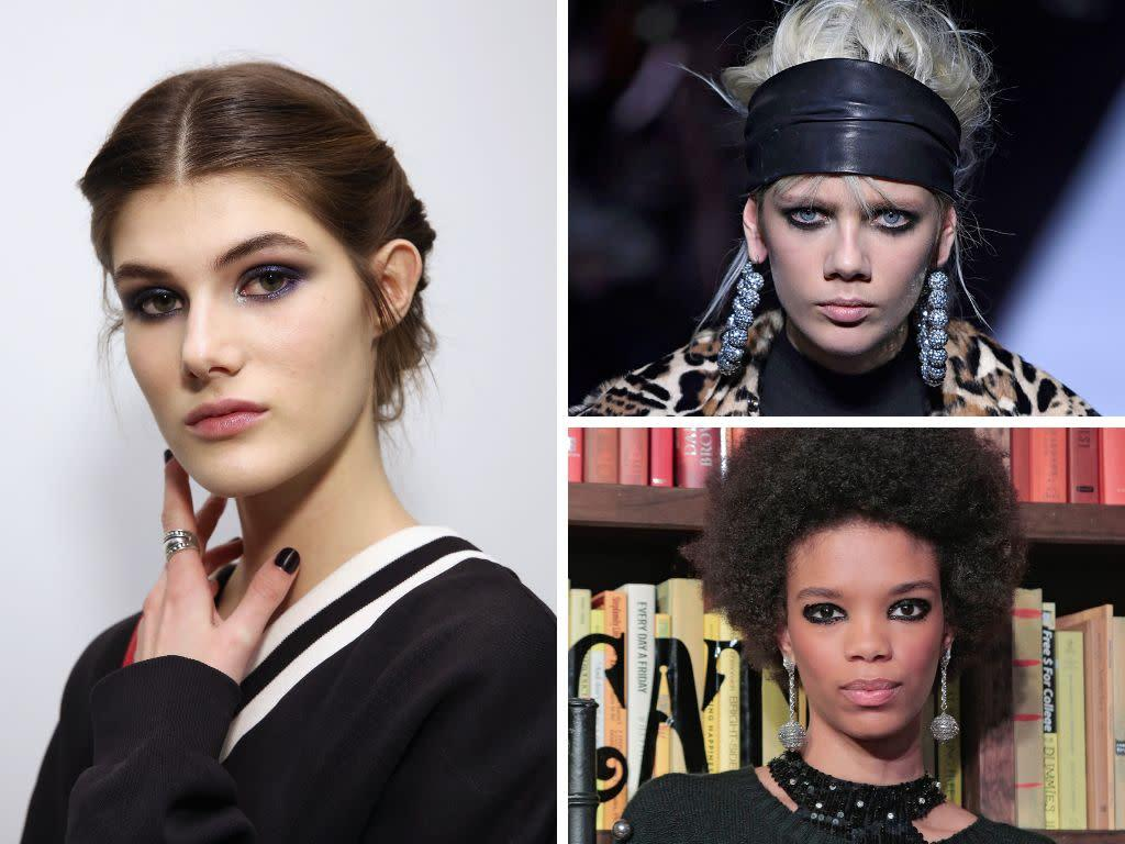 If you love drama, the dark-rimmed eye look is for you. At Alice and Olivia, designer Stacy Bendet's designs were paired with heavily rimmed and glittered eyes, while at Carolina Herrera the look was more smoky.&nbsp;<br><br><i>(Clockwise from left: Carolina Herrera, Tom Ford, Alice and Olivia)</i>