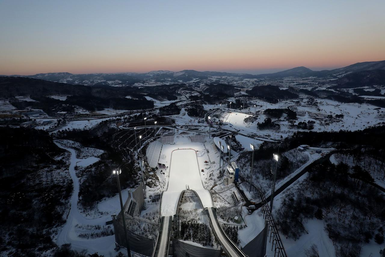 <p>The general view of Alpensia Ski Jumping Centre in Alpensia Resort Park ahead of PyeongChang 2018 Winter Olympic Games on February 2, 2017 in Pyeongchang-gun, South Korea. (Photo by Chung Sung-Jun/Getty Images) </p>
