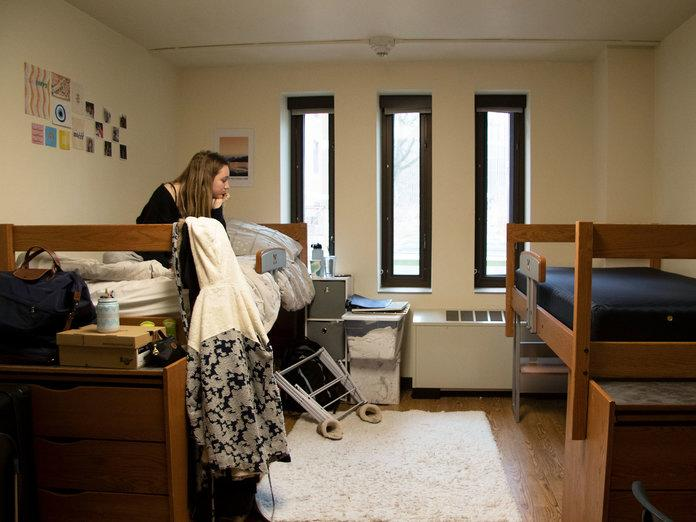 The East Quadrangle dorm room of Sophia Afendoulis (left) and Maura Burns, two University of Michigan freshmen, on Sunday, March 15. Burns moved out after University President Mark Schlissel asked all students to return home after classes were moved online. | Asha Lewis