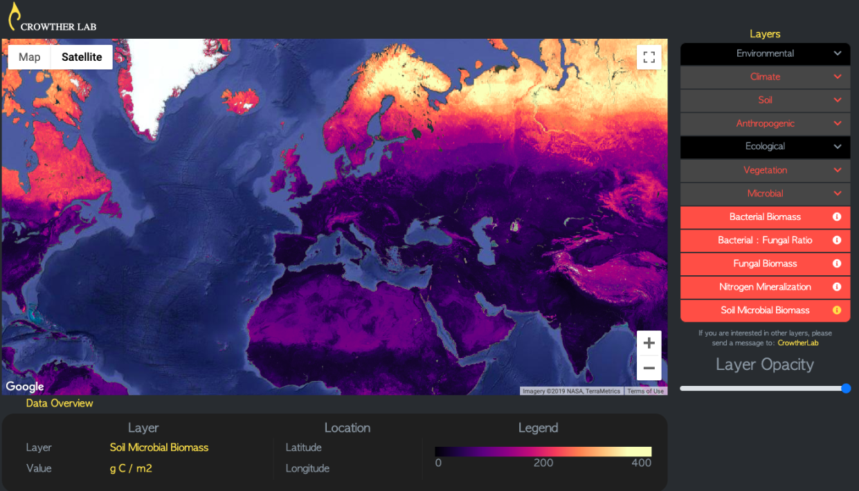 A mapping tool at Crowther Lab's website lets users see where trees can flourish despite rising temperatures. (Photo: Crowther Lab at ETH University)