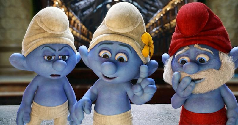 """This publicity image released by Sony Pictures Animation shows from left, Grouchy, voiced by George Lopez, Vanity, voiced by John Oliver and Papa Smurf, voiced by Jonathan Winters a scene from the film """"Smurfs 2."""" (AP Photo/Sony Pictures Animation)"""