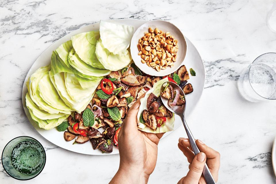 "This riff on larb skips the typical meat or fish for crispy shiitake mushrooms. Allowing the mushrooms to become golden brown and crisp before stirring and tossing them helps to achieve a flavorful texture before incorporating the aromatics. <a href=""https://www.epicurious.com/recipes/food/views/spicy-mushroom-larb?mbid=synd_yahoo_rss"" rel=""nofollow noopener"" target=""_blank"" data-ylk=""slk:See recipe."" class=""link rapid-noclick-resp"">See recipe.</a>"