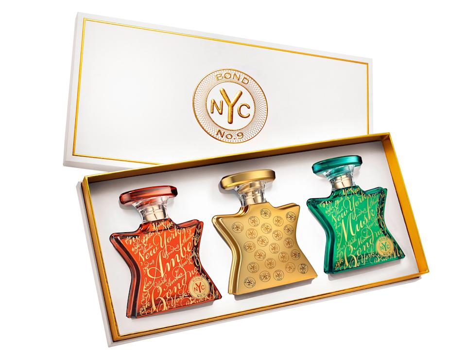 "Bond No. 9's Unisex Fragrance set is the perfect gift for anyone who likes to smell expensive and also loves New York City. The brand's offering three curated gift sets with some of their most popular scents, and its unisex option is your best bet — especially if you're buying it for a significant other. Pick this up for your boo and not only will they love it, but you will love sneaking in a few sprays from time to time. You'll be the best-smelling couple on the block.<br> <br> <strong>$430 for three 1.7-ounce bottles</strong> (<a href=""https://shop-links.co/1724123976291809544"" rel=""nofollow noopener"" target=""_blank"" data-ylk=""slk:Shop Now"" class=""link rapid-noclick-resp"">Shop Now</a>)"