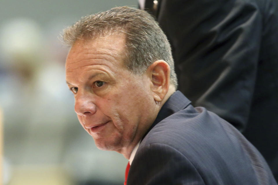 FILE- In this Oct. 21, 2019 file photo, former Broward County Sheriff Scott Israel appears before the Senate Rules Committee concerning his dismissal by Gov. Ron DeSantis, in Tallahassee, Fla. Israel is running against Sheriff Gregory Tony in the upcoming Florida primary. (AP Photo/Steve Cannon, File)