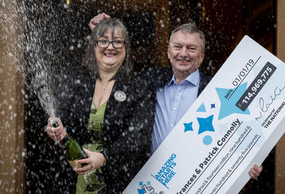 Frances Connolly, 52, and Patrick Connolly, 54, from Moira in Northern Ireland, who scooped a £115 million EuroMillions jackpot in the New Year's Day lottery draw, during a photocall at the Culloden Estate and Spa in Holywood, Belfast, as they announce their win.