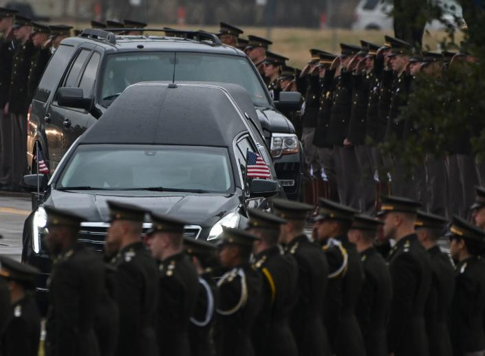 The hearse carrying the body of former US President George H.W. Bush arrives for the internment ceremony at the George H.W. Bush Presidential Library and Museum in College Station, Texas, on Dec. 6, 2018. (Photo: Andrew Caballero-Reynolds/AFP/Getty Images)