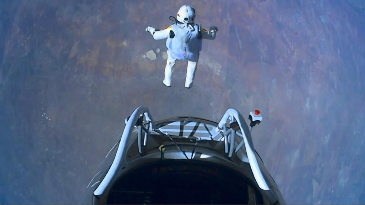 Felix Baumgartner jumped 24 miles above Earth in an extraordinary feat watched by millions worldwide. The 43 year old took 9.03 minutes to reach Earth, breaking the record for the highest ever freefall and becoming the first skydiver to go faster than the speed of sound (Red Bull Content Pool/Rex Features)