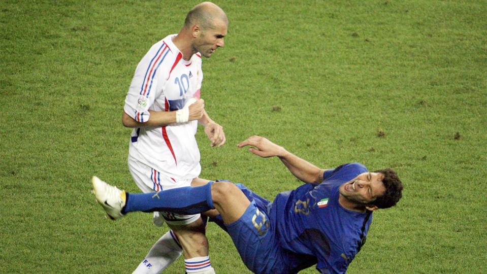 Italian footballer Marco Materazzi has revealed what he said to French counterpart Zinedine Zidane to prompt his infamous headbutt in the 2006 World Cup final. Picture: Getty Images