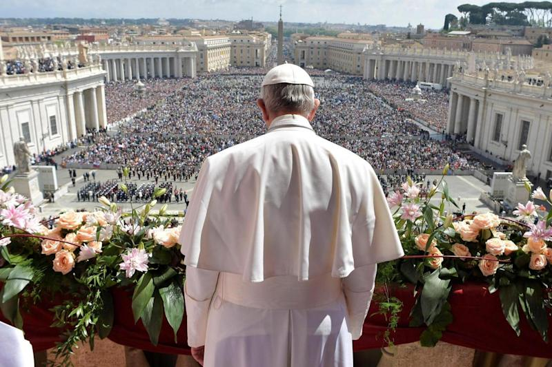 Pontiff: Pope Francis delivers his 'Urbi et Orbi' - the Easter message. (REUTERS)