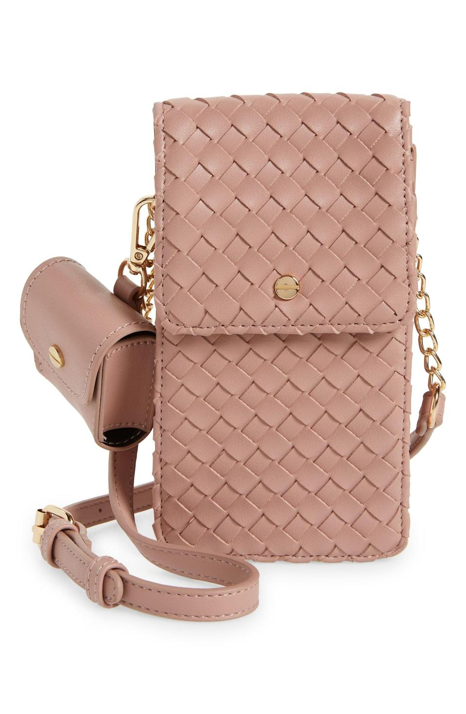 <p>This cute <span>Woven Vegan Leather Phone Crossbody Bag</span> is perfect for a night out. </p>