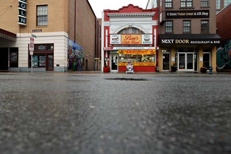The sidewalk is seen empty during dinner hour at Ben's Chili Bowl as the restaurant navigates the coronavirus disease (COVID-19) outbreak in Washington