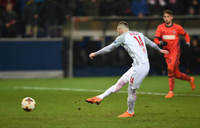 Soccer Football - Europa League Round of 32 Second Leg - RB Salzburg vs Real Sociedad - Red Bull Arena Salzburg, Salzburg, Austria - February 22, 2018 RB Salzburg's Valon Berisha scores their second goal from the penalty spot REUTERS/Andreas Gebert