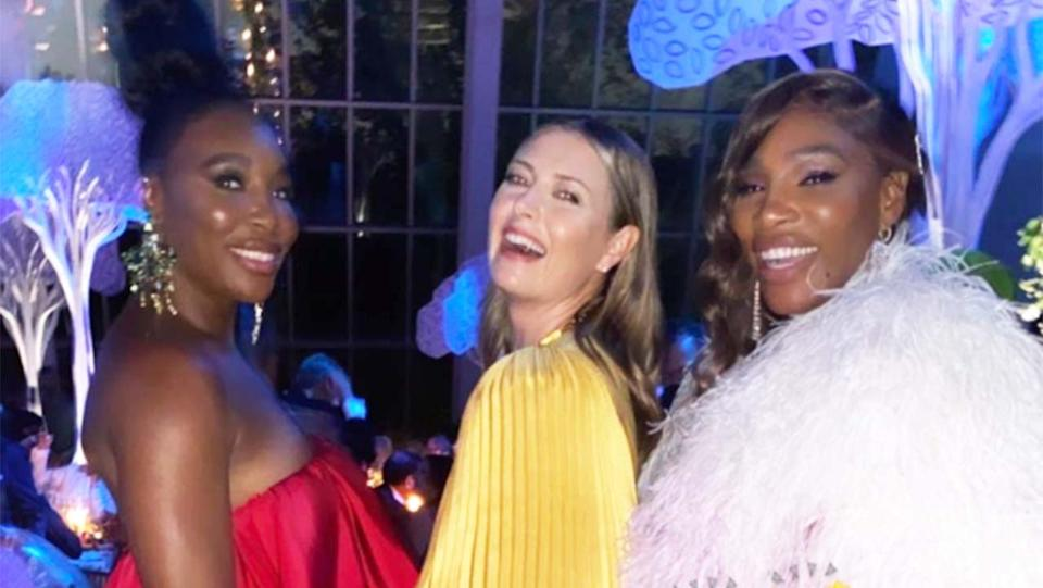 Venus Williams (pictured left), Maria Sharapova (pictured middle), Serena Williams (pictured right) smile for a photo at the Met Gala.