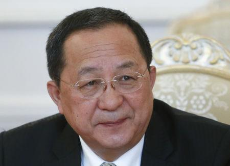 North Korean Foreign Minister Ri Yong Ho attends a meeting with his Russian counterpart Sergei Lavrov in Moscow
