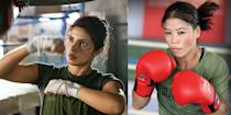 Priyanka Chopra chronicles of the life of Indian boxer Mary Kom, who went through several hardships before audaciously accomplishing her ultimate dream. Chopra underwent extensive physical training for three months to attain a muscular physique and learned Kom's distinct boxing style.