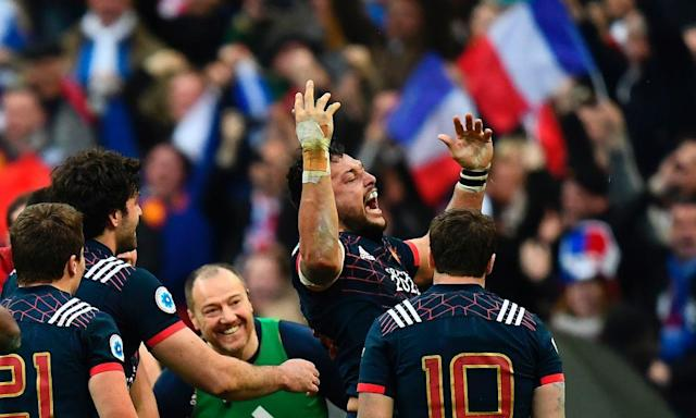 """<span class=""""element-image__caption"""">France's Damien Chouly roars to the heavens during the marathon victory against Wales in Paris.</span> <span class=""""element-image__credit"""">Photograph: Franck Fife/AFP/Getty Images</span>"""