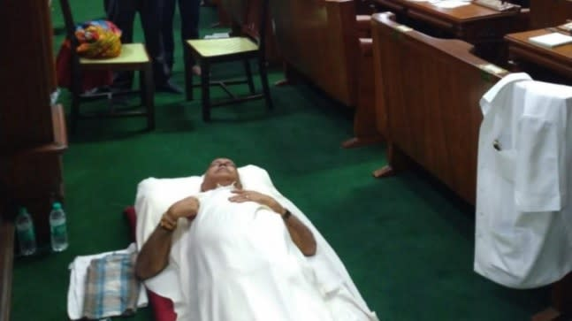 The BJP MLAs were seen having discussions, dining together and sleeping on the green floor and the well of the House.