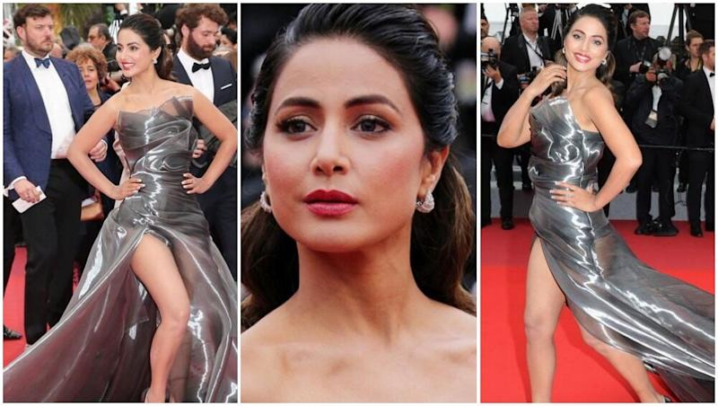 Cannes 2019: Hina Khan Rocks a Grey-Coloured Thigh-High Slit Gown, TV Actress' Chic Statement Mesmerizes Fans! See Pics