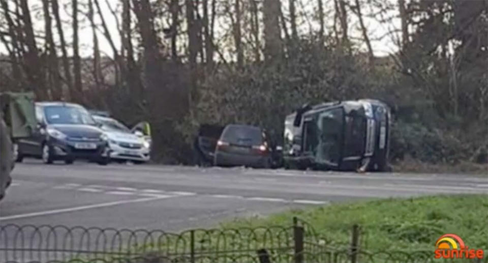 The 97-year-old's Land Rover was flipped on its side after the two car crash. Image: Sunrise