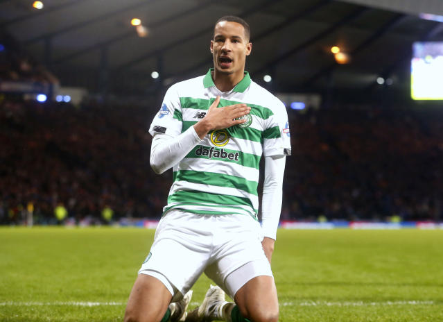 Celtic's Christopher Jullien celebrates scoring his side's first goal of the game during the Scottish Cup soccer Final between Celtic and Rangers at Hampden Park, Glasgow, Scotland, Sunday, Dec. 8, 2019. (Jeff Holmes/PA via AP)