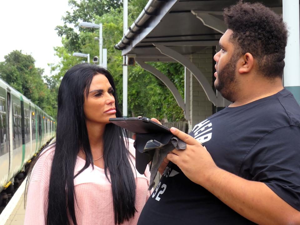 Katie Price took Harvey to a local station to photograph trains in the BBC film. (BBC)