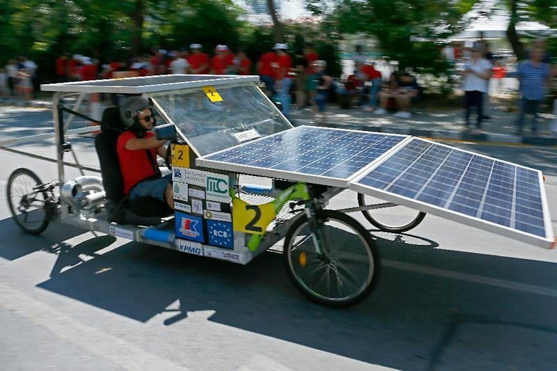 In Cyprus, which experiences some 320 sunny days per year, the potential for solar-powered cars is enormous (AFP Photo/Matthieu CLAVEL)