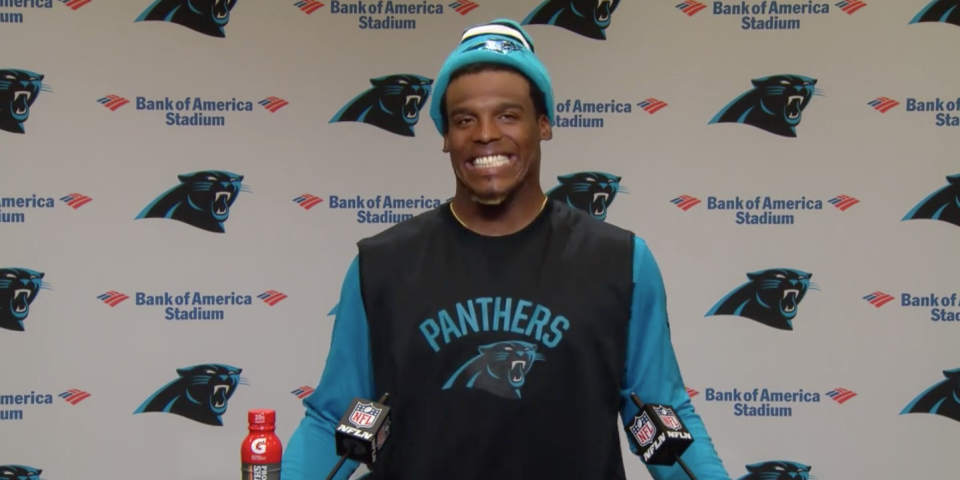 Cam Newton making his sexist remark at a Panthers press conference.
