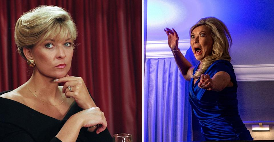 Kim Tate in 1995 and then during her epic, and perhaps disastrous October 2018 return. (REX/ITV Pictures)