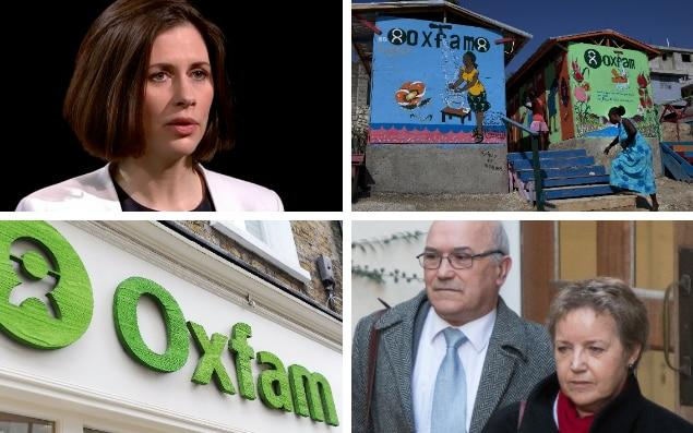 Whistleblower: Helen Evans, Oxfam global head of safeguarding, raised further questions over the charity's running, drawing a fresh apology from CEO Mark Goldring, seen (bottom right) with chair of trustees Caroline Thomson after a meeting with International Development Secretary Penny Mourdant - CHANNEL 4 NEWS/GETTY IMAGES/HEATHCLIFF O'MALLEY/PA