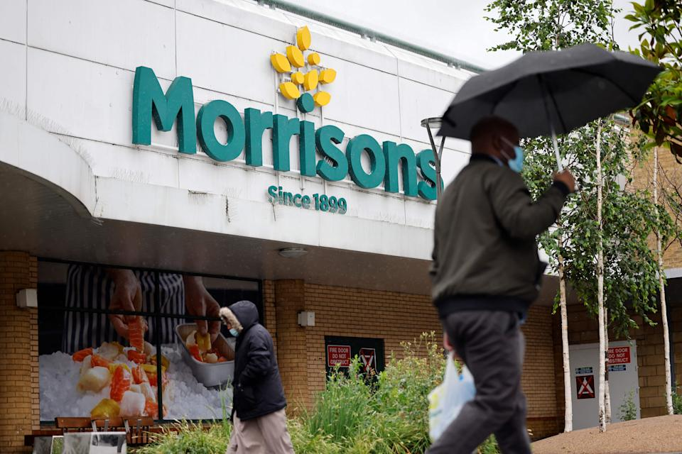 A view of a Morrisons supermarket in Stratford, east London on June 21, 2021. - Shares in British supermarket chain Morrisons surged today after it rejected a £5.5-billion ($7.6-billion, 6.4-billion-euro) takeover approach as too low. (Photo by Tolga Akmen / AFP) (Photo by TOLGA AKMEN/AFP via Getty Images)
