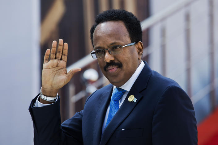 FILE - In this Saturday, May 25, 2019, file photo, Somalia's President Mohamed Abdullahi Mohamed arrives for the swearing-in ceremony of Cyril Ramaphosa at Loftus Versfeld stadium in Pretoria, South Africa. As Somalia marks three decades since a dictator fell and chaos engulfed the country, the government is set to hold a troubled national election but two regional states are refusing to take part in the vote to elect Somalia's president and time is running out before the Feb. 8 date on which mandates expire. (AP Photo/Jerome Delay, File)
