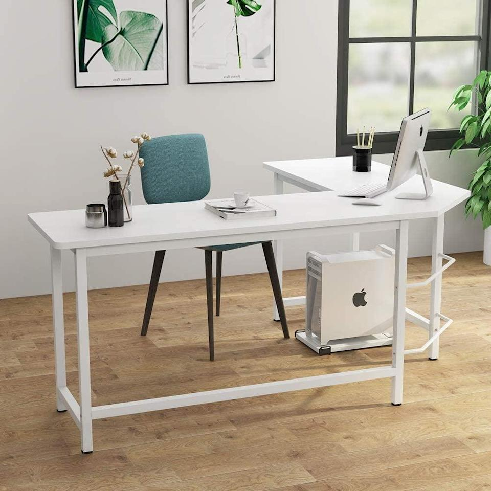 <p>This <span>Tribesigns Modern L-Shaped Desk</span> ($150) is a spectacular deal.</p>