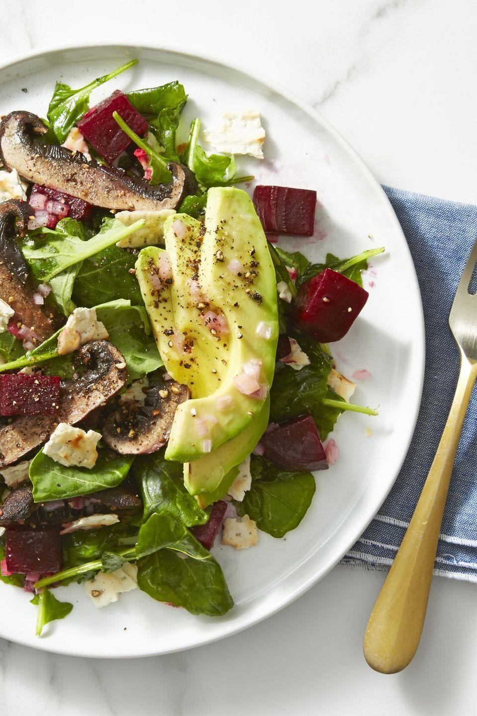 """<p>Crushed matzo pieces add a delicious crunch to this loaded salad. Have it for lunch during Passover!</p><p><em><a href=""""https://www.goodhousekeeping.com/food-recipes/a43225/beet-mushroom-avocado-salad-recipe/"""" rel=""""nofollow noopener"""" target=""""_blank"""" data-ylk=""""slk:Get the recipe for Beet, Mushroom and Avocado Salad »"""" class=""""link rapid-noclick-resp"""">Get the recipe for Beet, Mushroom and Avocado Salad »</a></em></p><p><strong>RELATED: </strong><a href=""""https://www.goodhousekeeping.com/food-recipes/healthy/g960/healthy-lunch-ideas/"""" rel=""""nofollow noopener"""" target=""""_blank"""" data-ylk=""""slk:70 Tasty, Healthy Lunch Ideas That Will Truly Keep You Full Until Dinner"""" class=""""link rapid-noclick-resp"""">70 Tasty, Healthy Lunch Ideas That Will Truly Keep You Full Until Dinner</a><br></p>"""