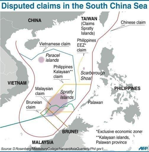 A graphic showing disputed claims in the South China Sea. Secretary of State Hillary Clinton arrived in Beijing after talks in emerging US ally Indonesia, where she voiced hopes for progress in managing increasing tensions in the South China Sea