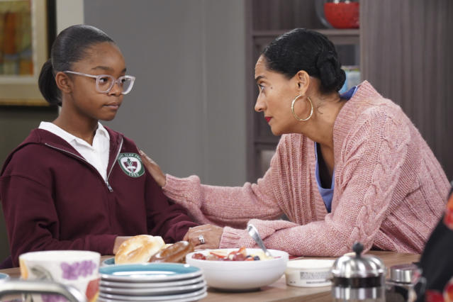 """This image released by ABC shows Marsai Martin, left, and Tracee Ellis Ross in a scene from """"black-ish."""" In the episode airing on Tuesday, Jan. 15, Dre, played by Anthony Anderson, and Bow, played by Ross, are furious after Diane, played by Martin, isn't lit properly in her class photo. The episode outlines the history of colorism in depth while injecting some humor (Ron Tom/ABC via AP)"""