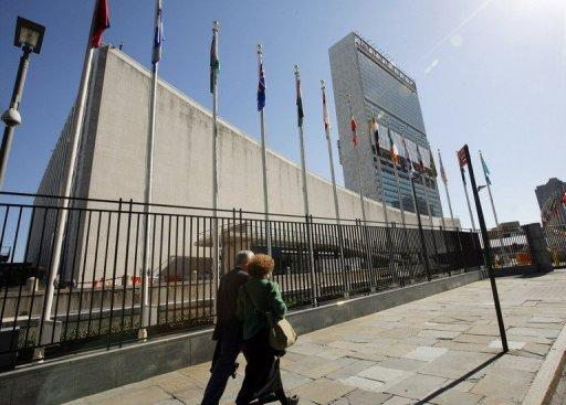 "The UN building in New York, where delegates have resolved that the pursuit of happiness is a ""fundamental human goal"""
