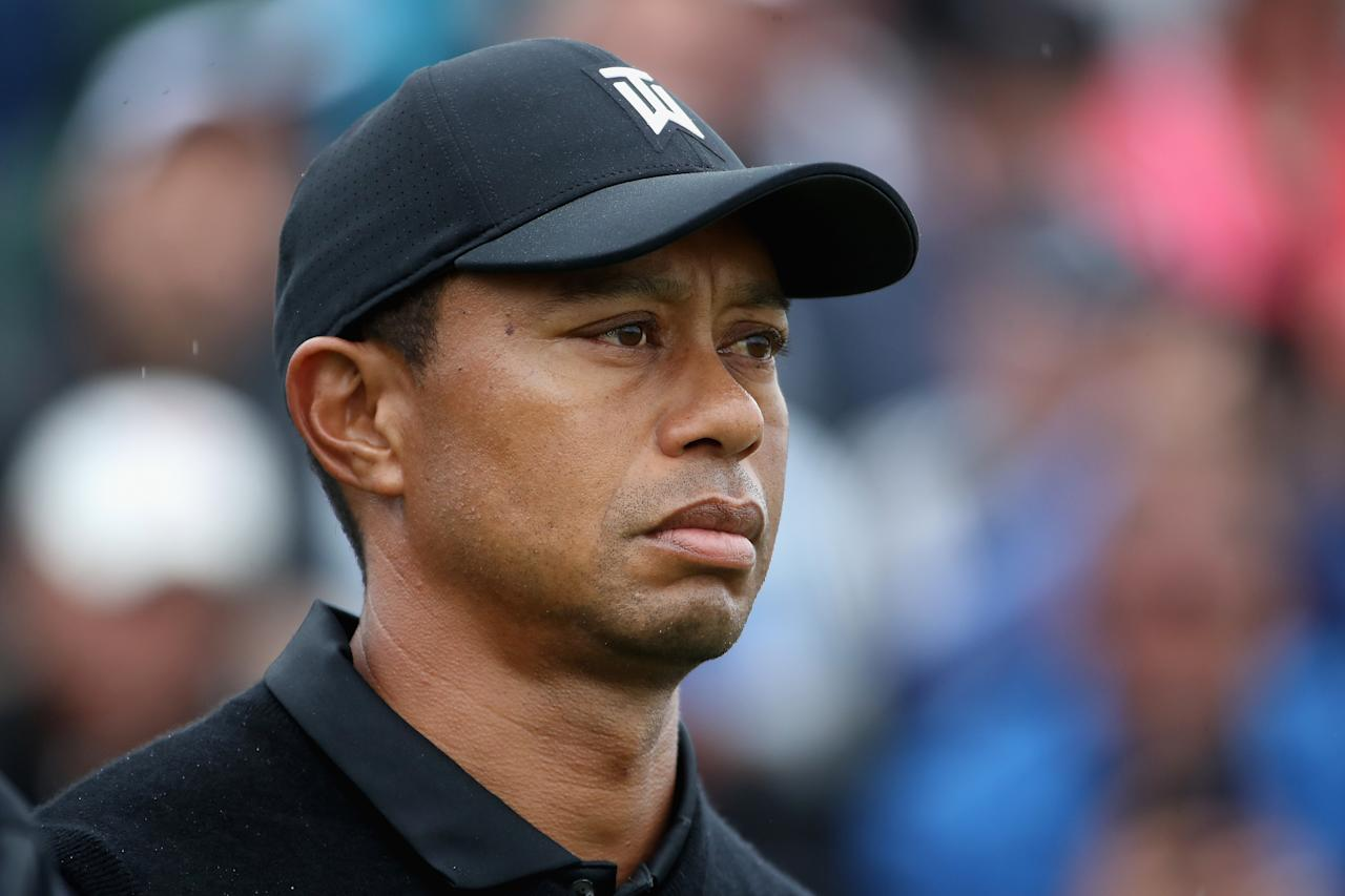 Tiger Woods of the United States waits to tee off on the first hole during the second round of the 2019 PGA Championship at the Bethpage Black course on May 17, 2019 in Farmingdale, New York. (Photo by Christian Petersen/PGA of America/PGA of America via Getty Images)