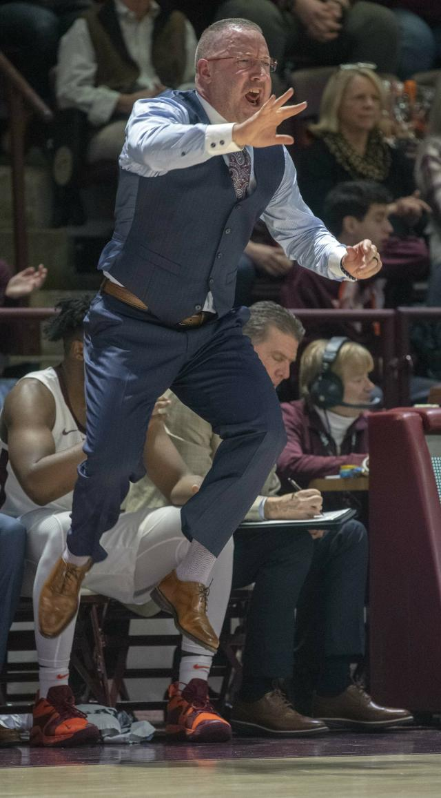 Virginia Tech head coach Buzz Williams yells to his team during the first half of an NCAA college basketball game Saturday, Jan. 19, 2019, in Blacksburg, Va. (AP Photo/Don Petersen)
