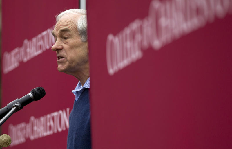 FILE - This Jan. 19, 2012 file photo shows then-Republican presidential candidate, Rep. Ron Paul, R-Texas speaking at the College of Charleston in Charleston, S.C. Ron Paul is exiting the political stage but his legions of rabble-rousing followers insist they are only getting started. Libertarian-leaning loyalists of the two-time Republican presidential candidate have quietly taken over key-state GOP organizations, ensuring future fights with the GOP's establishment and laying the groundwork for a future presidential candidate. (AP Photo/Pablo Martinez Monsivais, File)