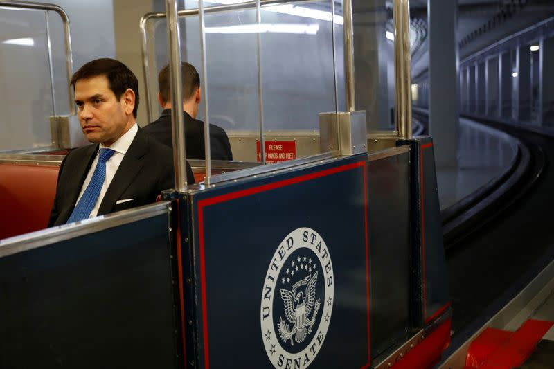 Senator Marco Rubio rides the Senate subway at the end of the day as the Trump impeachment trial continues in Washington
