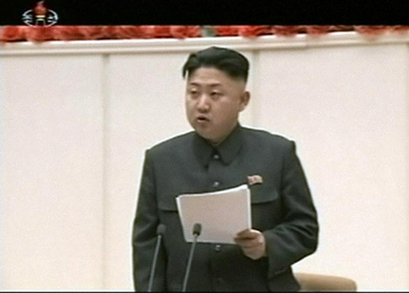 "In this Jan. 28, 2013 image made from video, North Korean leader Kim Jong Un delivers opening remarks at the Fourth Meeting of Secretaries of Cells of the Workers' Party of Korea, in Pyongyang, North Korea. Kim convened top security and foreign affairs officials and ordered them to take ""substantial and high-profile important state measures,"" state media said Sunday, fueling speculation that he plans to push forward with a threat to explode a nuclear device in defiance of the United Nations. (AP Photo/KRT via AP Video) NORTH KOREA OUT, TV OUT"