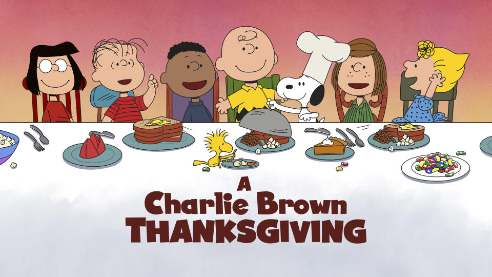 "This image released by Apple shows key art for the animated classic ""A Charlie Brown Thanksgiving"" holiday special. Apple and PBS have teamed up for ad free broadcasts of the special and ""A Charlie Brown Christmas."" (Apple via AP)"